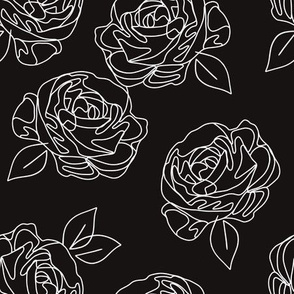 Minimalist roses black and white 9""