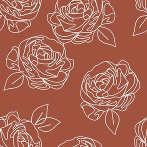 Minimalist roses on terracotta 9""