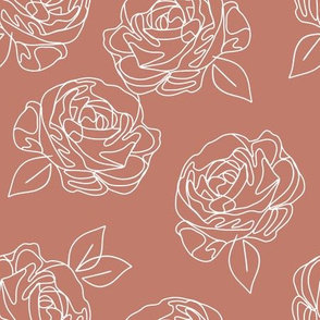 Minimalist roses on dusty rose 9""