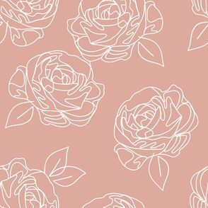 Minimalist roses on baby pink 9""