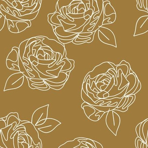 Minimalist roses on butterscotch  9""