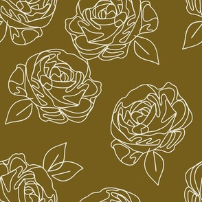 Minimalist roses on ochre 9""
