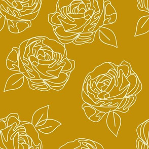 Minimalist roses on mustard yellow 9""