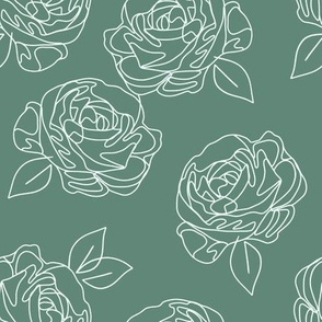 Minimalist roses on teal 9""