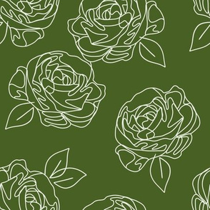 Minimalist roses on Kelly green 9""