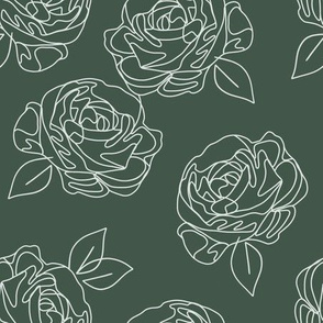 Minimalist roses on forest green 9""