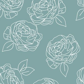 Minimalist roses on baby blue 9""