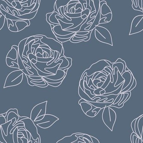 Minimalist roses on powder blue 9""