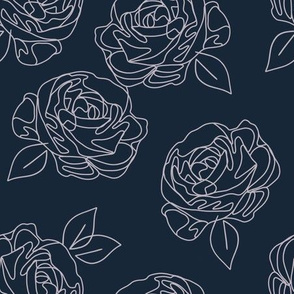 Minimalist roses on navy blue 9""