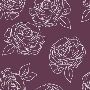 """Minimalist roses on eggplant 9"""""""