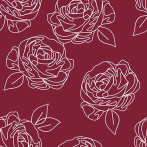 Minimalist roses on cranberry 9""