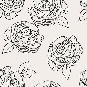 """Minimalist roses on eggshell 9"""""""