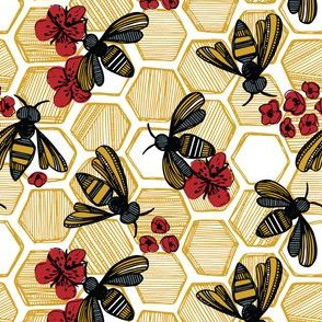 Honey Bee Hexagon Red on White Small