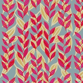 Red, pink + mustard, layered Minoan grasses on French gray by Su_G_©SuSchaefer