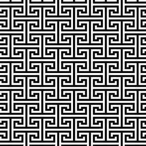 Greek Key Labyrinth White On Black 1:1