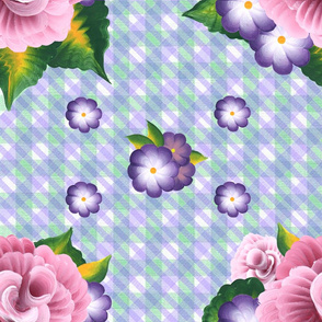 Roses on a Green and Purple Gingham Plaid