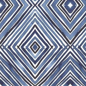 Watercolor Diamond - Indigo