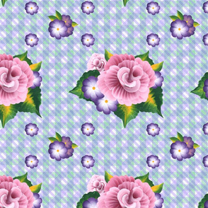 Roses on a Green and Purple Gingham Plaid_medium scale