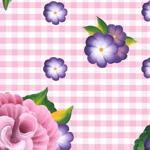 Roses on Pink Gingham