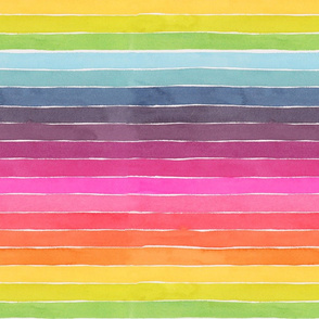 Summer Watercolor Stripes - Large Scale