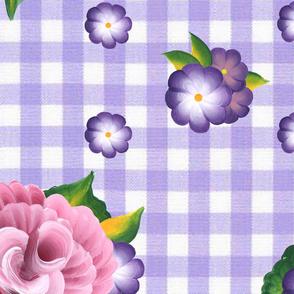 Roses on Purple Gingham