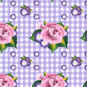 Roses on Purple Gingham_medium scale