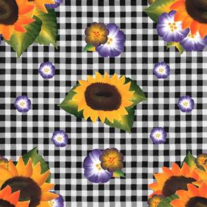 Sunflowers on Black Gingham
