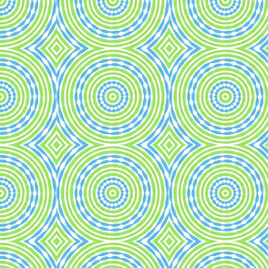 Lime Blue Spinning Circles