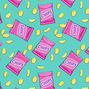 (small scale) bag of chips - pink on teal C19BS