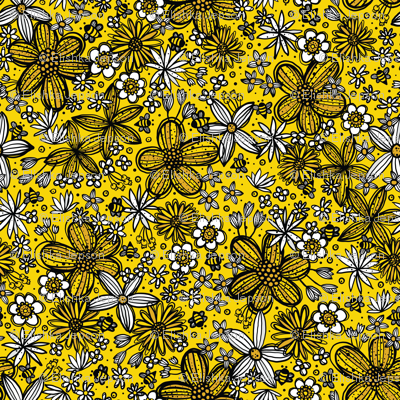Flowers & Bees (Yellow)