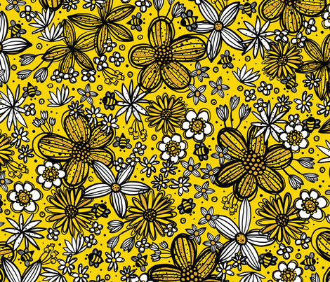 Flowers & Bees (Yellow) fabric by robyriker on Spoonflower - custom fabric