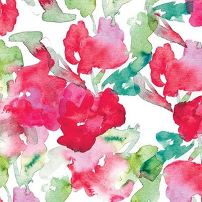 Fowers in watercolor pattern by #mahsawatercolor