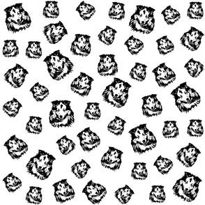 Shetland Sheepdog black white fabrics