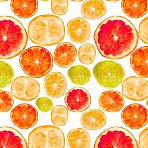 Grapefruits and friends || watercolor citrus fruits pattern