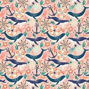 Whale Song on Coral Blush - Small Scale
