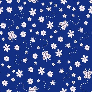 Blue & White Ditsy Flowers