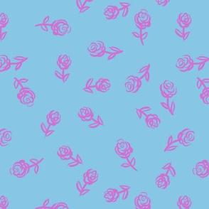 Pink Roses & Blue