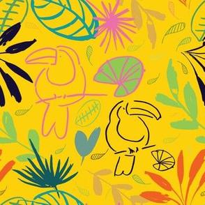 jungle tucan seamless pattern background design