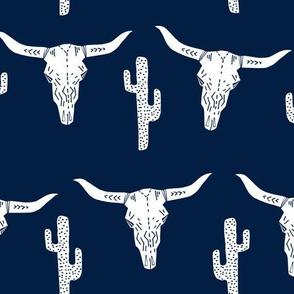 LARGE  skull // cow skull longhorn cattle navy blue cactus texas west western kids boys navy blue
