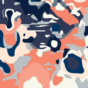coral jubilee small // coral, navy, gray, off white