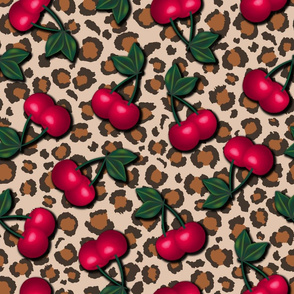 Rockabilly Cherries on Leopard Print - Tan Background