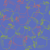 Red & Green Apple outlines on Dark Blue BackGround