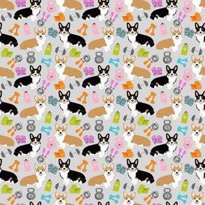 TINY - corgi fitness workout fabric - dog fabric, corgi fabric, fitness fabric, workout fabric -grey