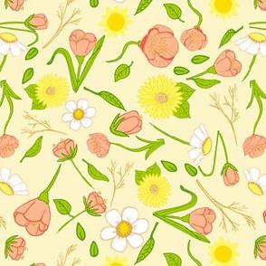 Pink flowers among sunshine and greenery