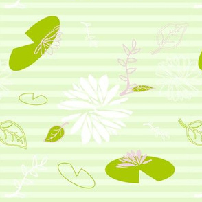 Lilly Pads and flowers, Green, purple, White
