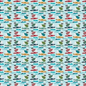 TINY - french bulldog surfing dog breed fabric blue