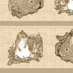 Bunny and Squirrel Stripe in Sepia Tone