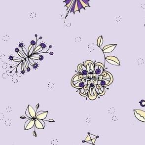 Scattered jewel tone blooms l-lavender