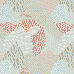 abstract brush strokes, coral, peach and tan on sea foam