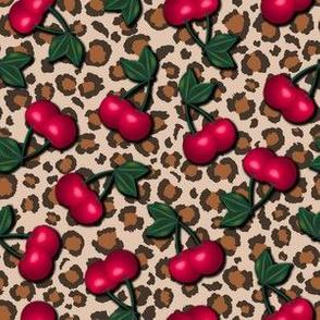 Rockabilly Cherries on Leopard Print - Tan Background Smaller